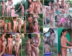 Family nudism photo – Green barrel of fun