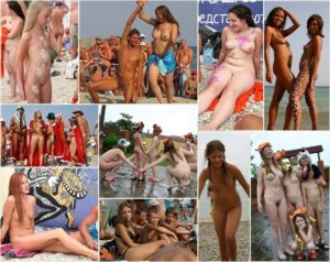 Young nudists photo – Outdoor celebration [set 1]