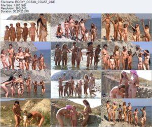Family nudism video – Rocky ocean coast line