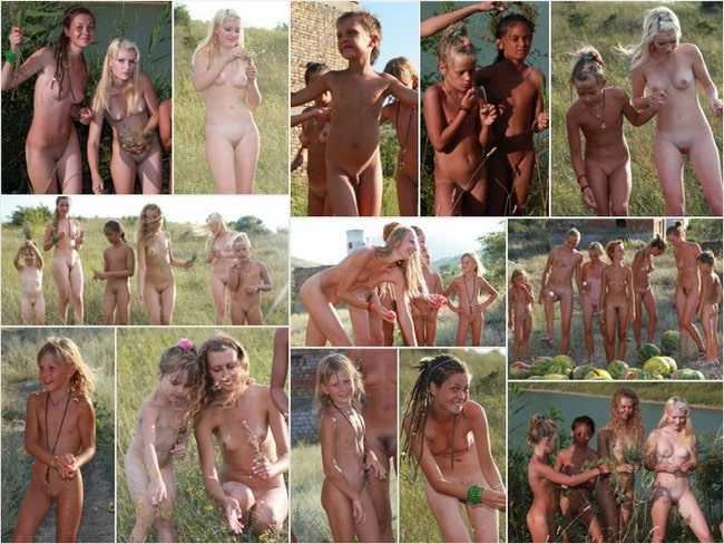 Naturist family events photo – Watermelon marsh [set 1]